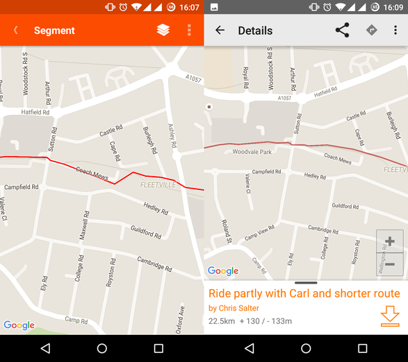 Strava (left) compared to Ride With GPS (right)