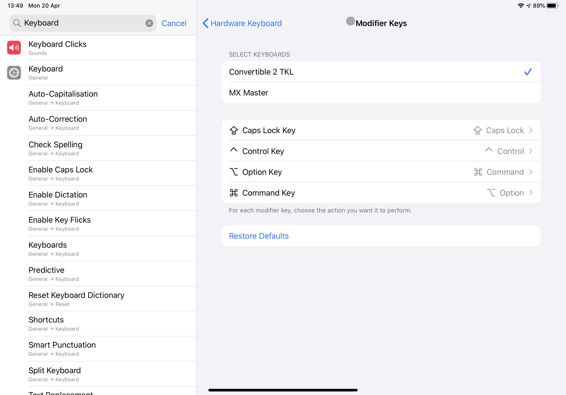 iPad OS keyboard settings