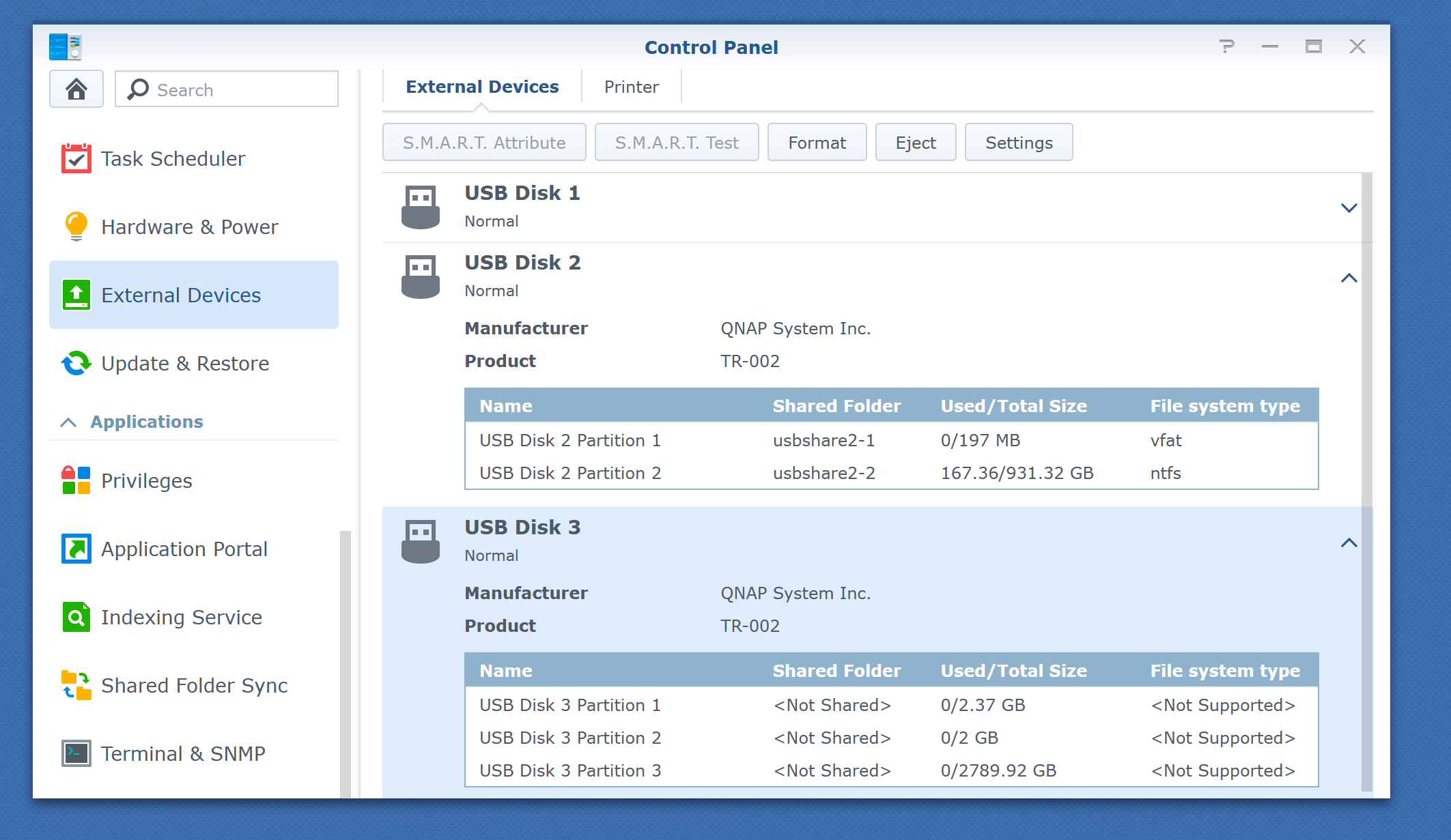 QNAP TR-002 on Synology