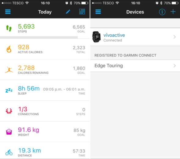 Garmin Connect app showing dashboard and devices associated with the account