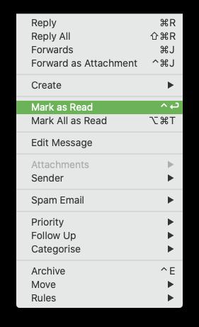 Mark as Read - keyboard shortcut changed